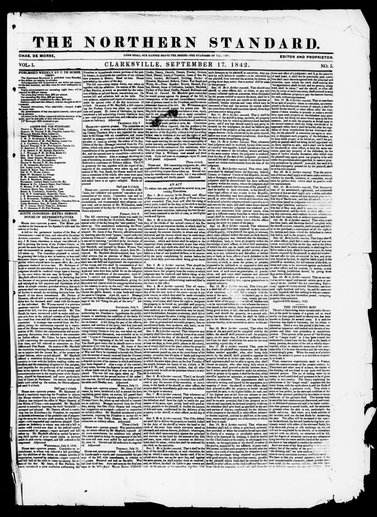 The Northern Standard. (Clarksville, Tex.), Vol. 1, No. 5, Ed. 1, Saturday, September 17, 1842                                                                                                      [Sequence #]: 1 of 4