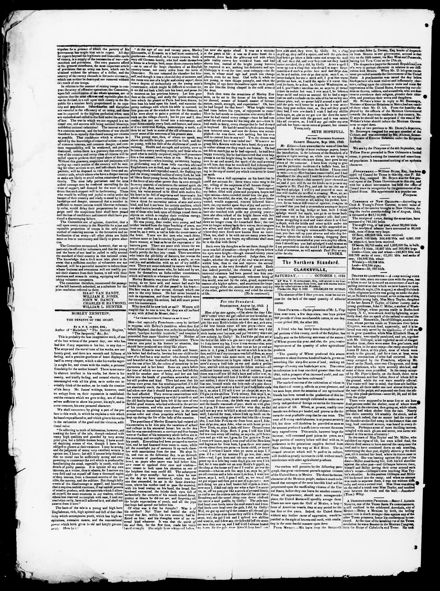 The Northern Standard. (Clarksville, Tex.), Vol. 1, No. 7, Ed. 1, Saturday, October 1, 1842                                                                                                      [Sequence #]: 2 of 4