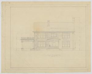 Primary view of object titled 'Oldham Residence, Abilene, Texas: East Elevation'.