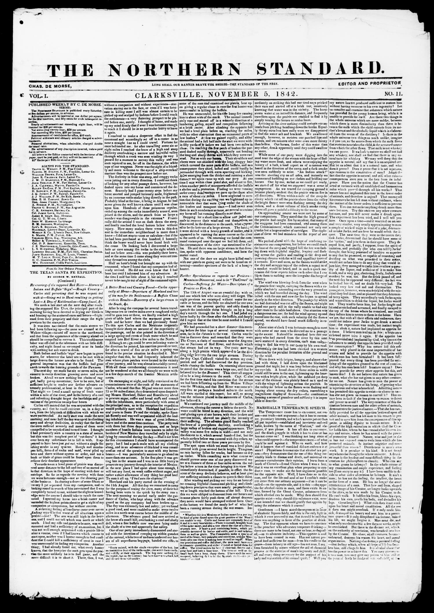 The Northern Standard. (Clarksville, Tex.), Vol. 1, No. 11, Ed. 1, Saturday, November 5, 1842                                                                                                      [Sequence #]: 1 of 4