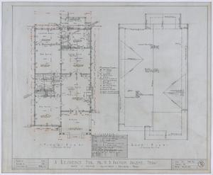Primary view of object titled 'Paxton Residence, Abilene, Texas: Floor and Roof Plans'.