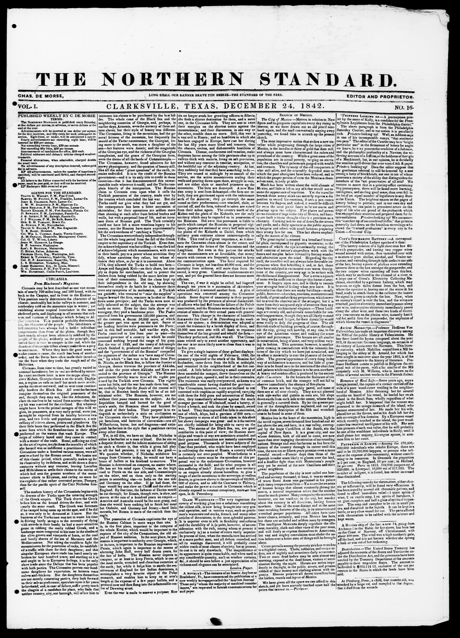 The Northern Standard. (Clarksville, Tex.), Vol. 1, No. 16, Ed. 1, Saturday, December 24, 1842                                                                                                      [Sequence #]: 1 of 4