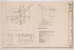 Primary view of object titled 'Green Oaks Nursing Home, Abilene, Texas: Kitchen Plumbing Plan, Basement Plan, and Details'.