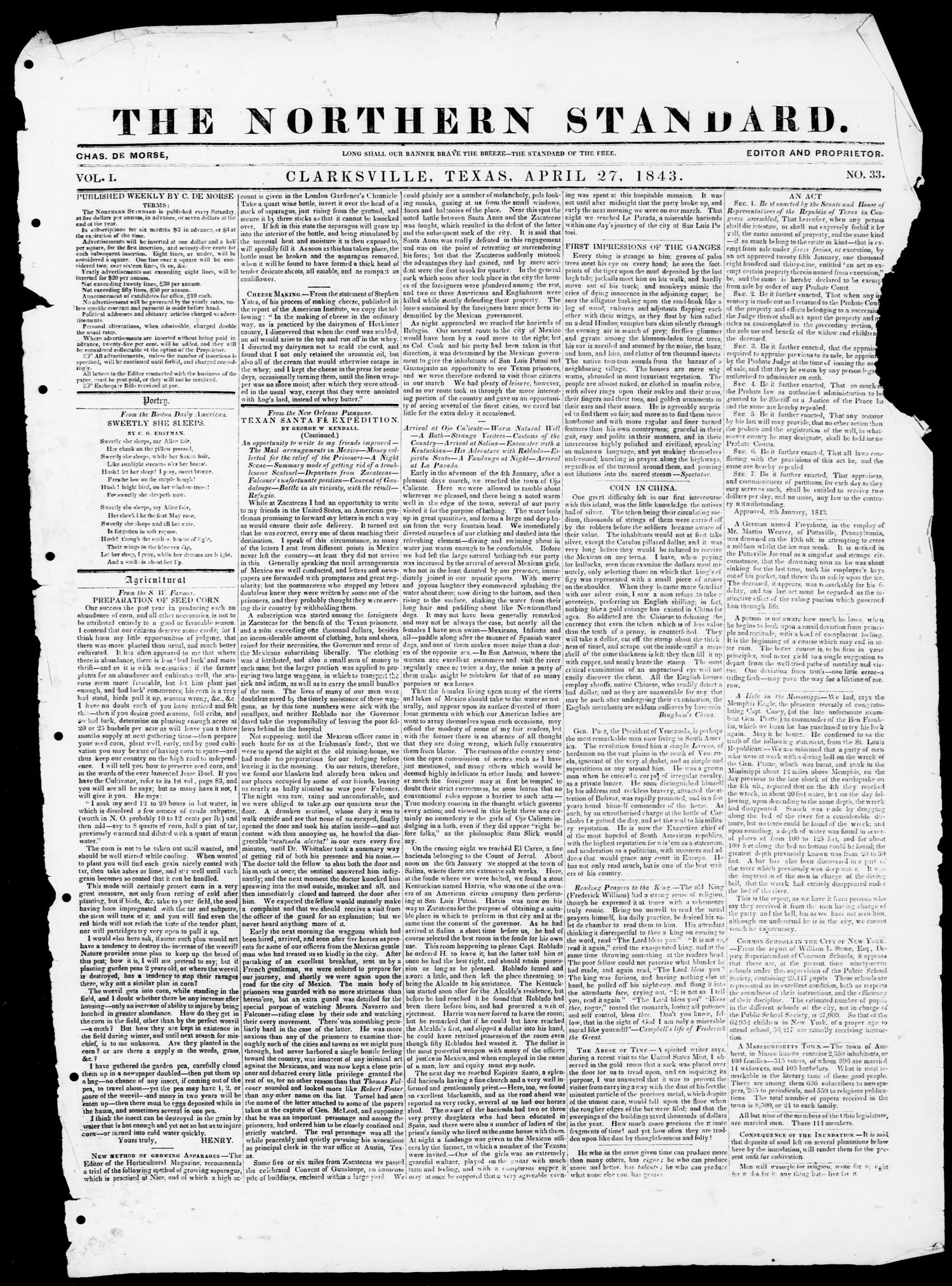 The Northern Standard. (Clarksville, Tex.), Vol. 1, No. 33, Ed. 1, Thursday, April 27, 1843                                                                                                      [Sequence #]: 1 of 4