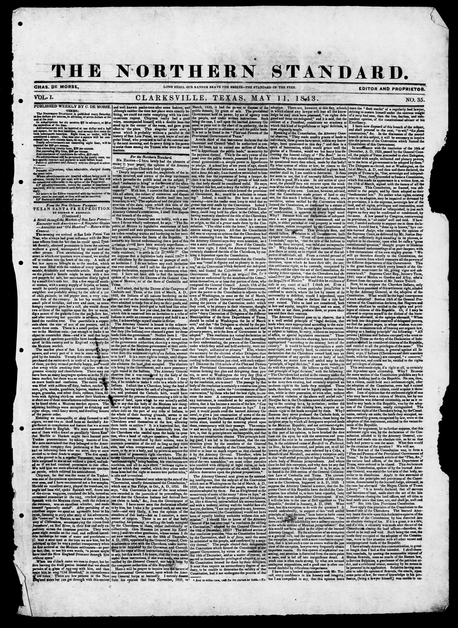 The Northern Standard. (Clarksville, Tex.), Vol. 1, No. 35, Ed. 1, Thursday, May 11, 1843                                                                                                      [Sequence #]: 1 of 2