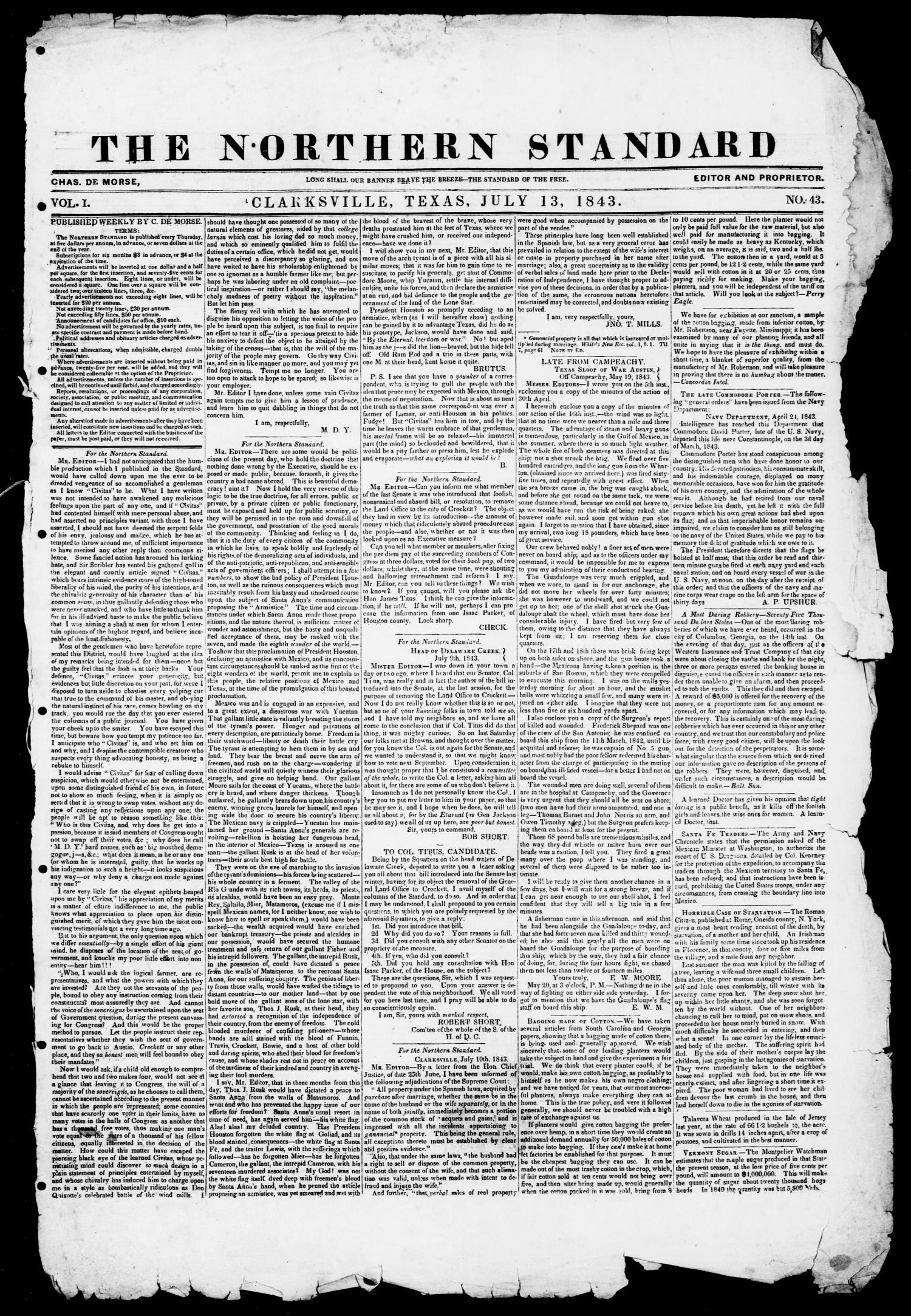 The Northern Standard. (Clarksville, Tex.), Vol. 1, No. 43, Ed. 1, Thursday, July 13, 1843                                                                                                      [Sequence #]: 1 of 2