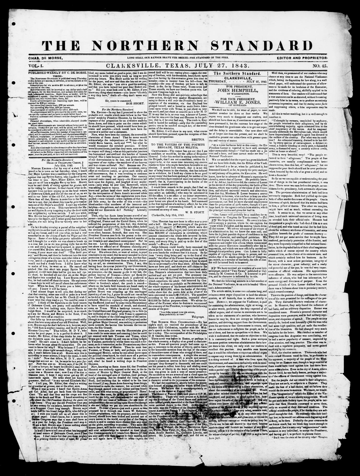 The Northern Standard. (Clarksville, Tex.), Vol. 1, No. 45, Ed. 1, Thursday, July 27, 1843                                                                                                      [Sequence #]: 1 of 2