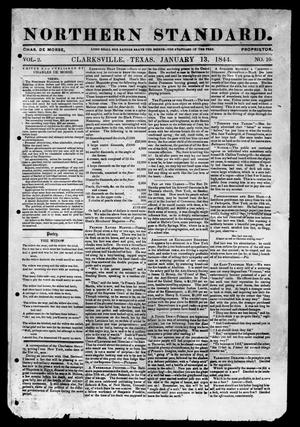 Primary view of object titled 'The Northern Standard. (Clarksville, Tex.), Vol. 2, No. 10, Ed. 1, Saturday, January 13, 1844'.