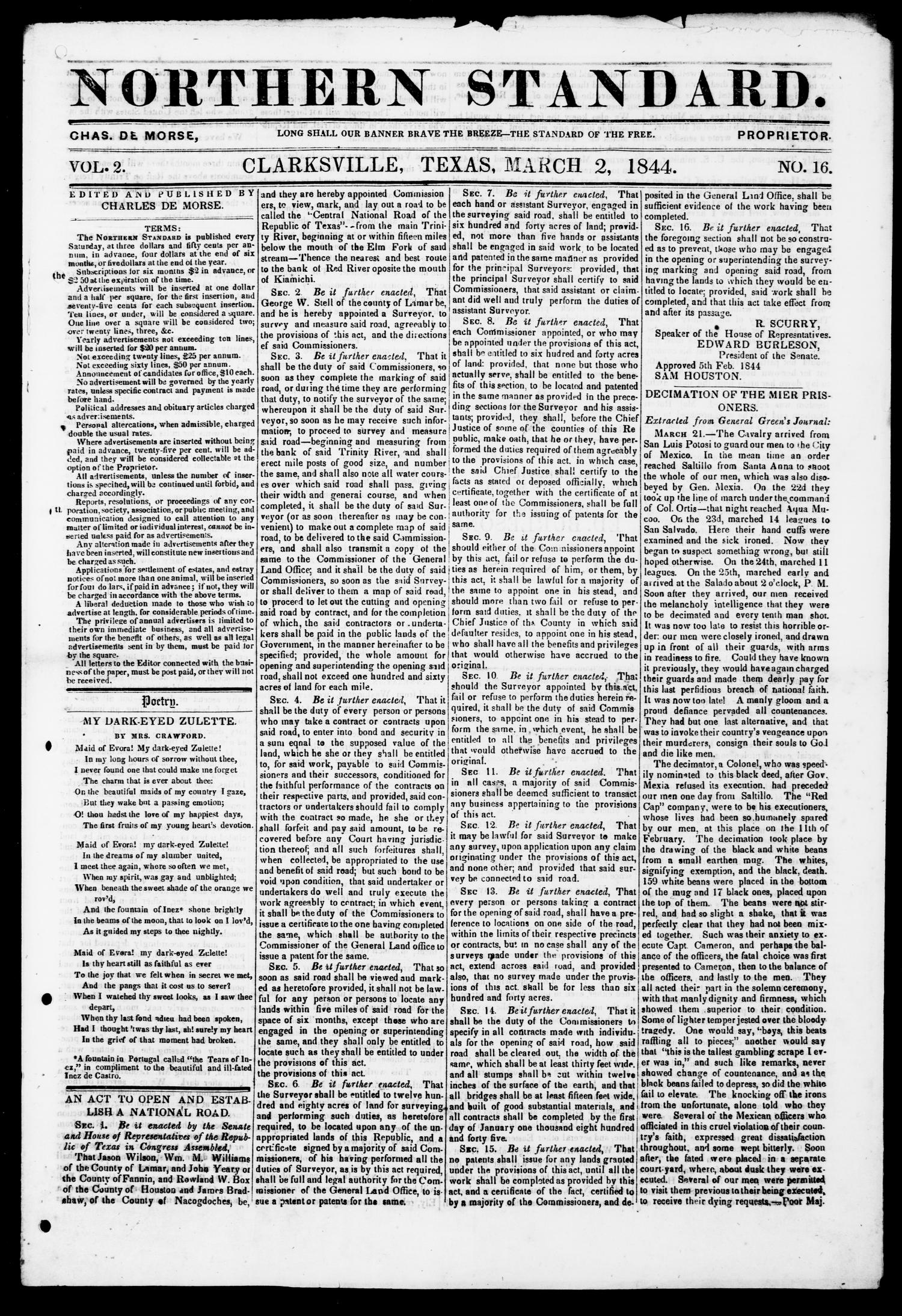 The Northern Standard. (Clarksville, Tex.), Vol. 2, No. 16, Ed. 1, Saturday, March 2, 1844                                                                                                      [Sequence #]: 1 of 4