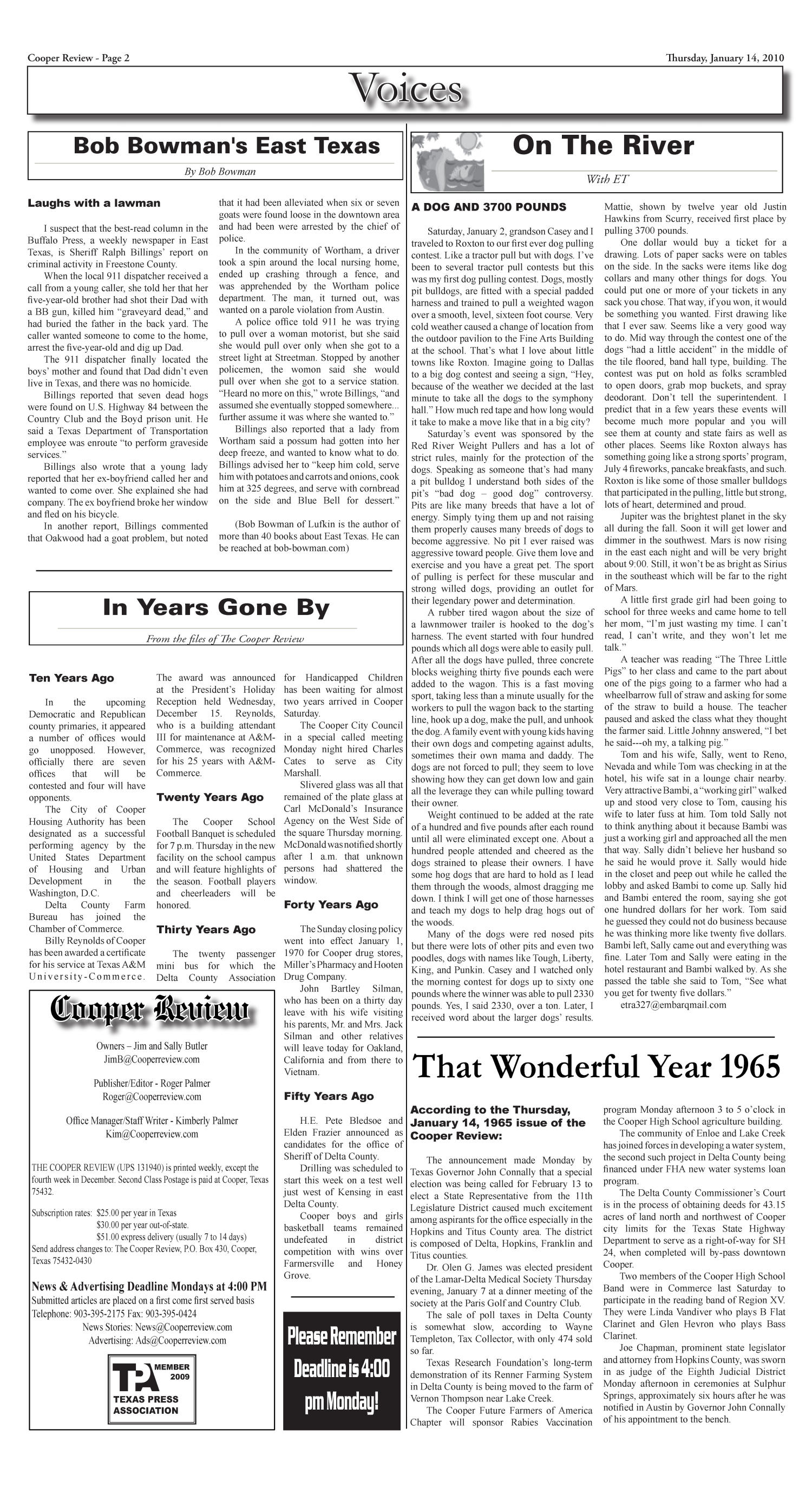 Cooper Review (Cooper, Tex.), Vol. 130, No. 2, Ed. 1 Thursday, January 14, 2010                                                                                                      [Sequence #]: 2 of 6