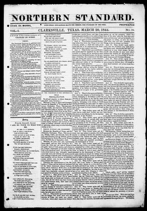 Primary view of The Northern Standard. (Clarksville, Tex.), Vol. 2, No. 19, Ed. 1, Wednesday, March 20, 1844