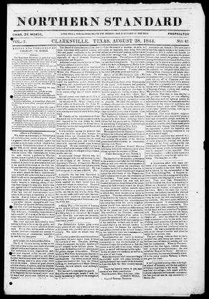 Primary view of object titled 'The Northern Standard. (Clarksville, Tex.), Vol. 2, No. 43, Ed. 1, Wednesday, August 28, 1844'.