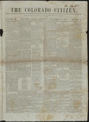 Primary view of object titled 'The Colorado Citizen. (Columbus, Tex.), Vol. 3, No. 16, Ed. 1 Thursday, December 15, 1859'.