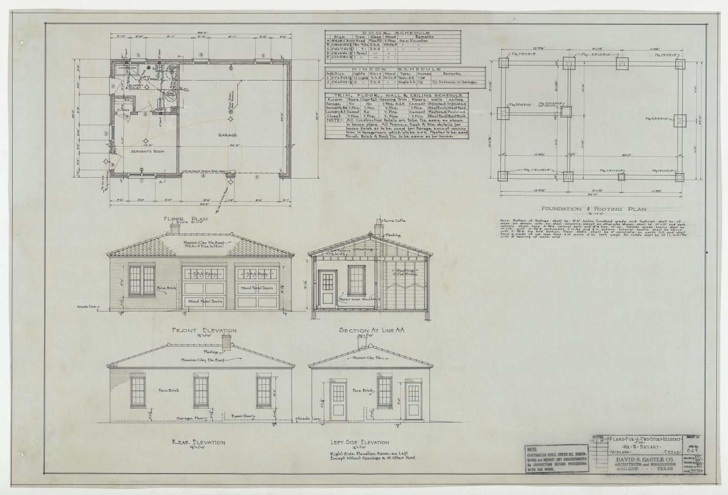 Bryant Residence Midland Texas Floor Plan Footing Foundation Plan And Elevations The Portal To Texas History