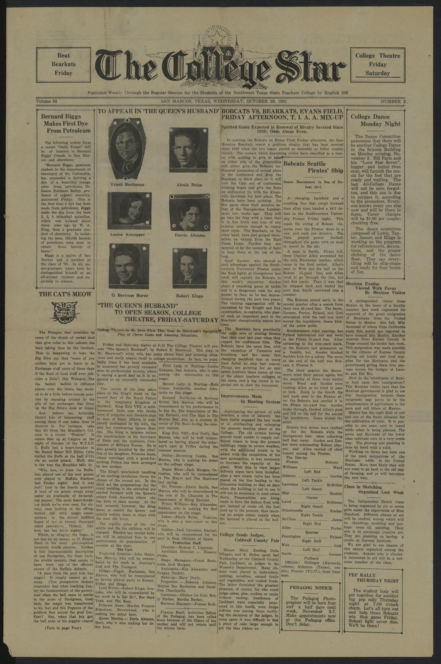 The College Star (San Marcos, Tex.), Vol. 24, No. 5, Ed. 1 Wednesday, October 28, 1931                                                                                                      [Sequence #]: 1 of 4