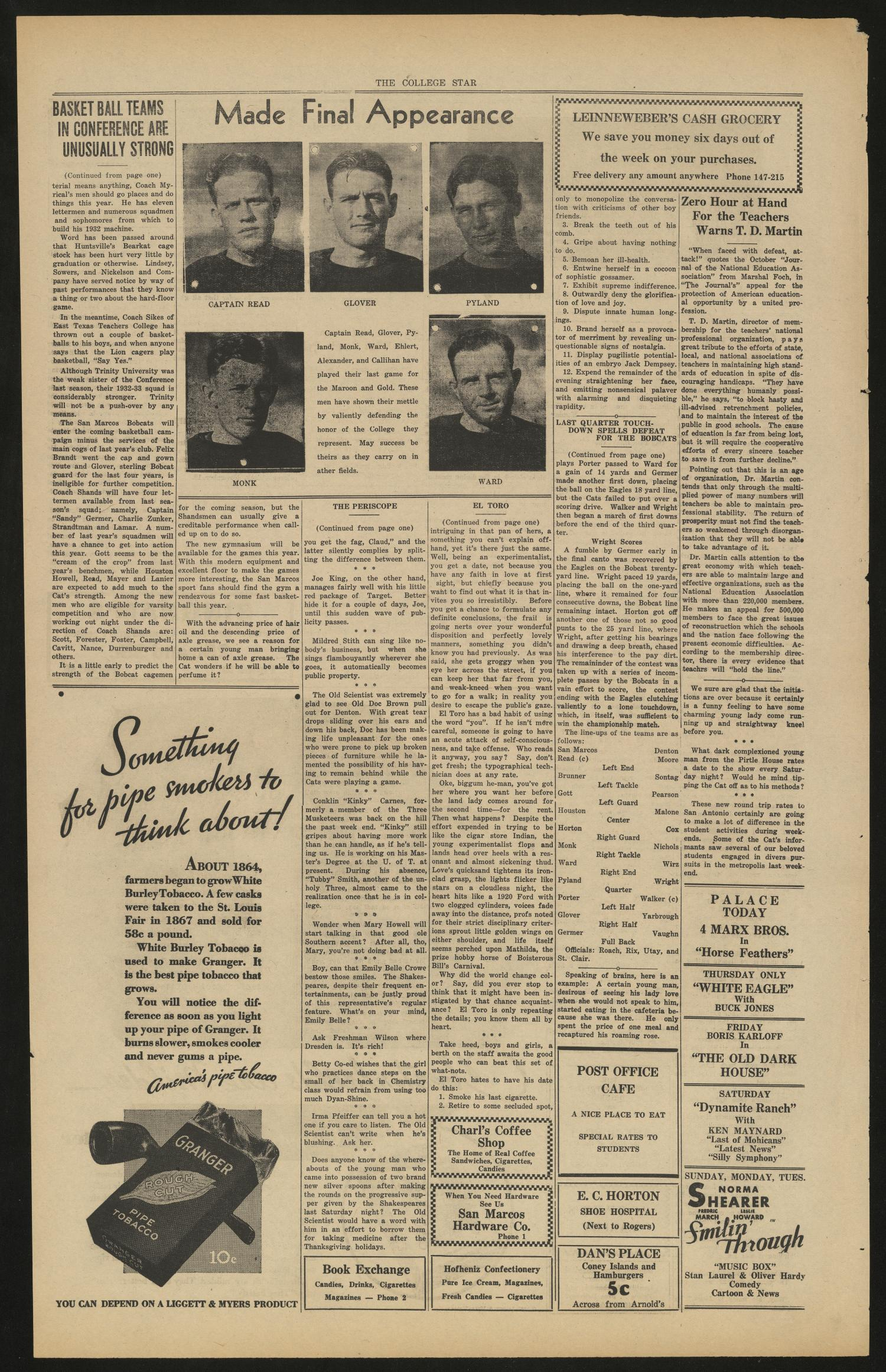 The College Star (San Marcos, Tex.), Vol. 25, No. 10, Ed. 1 Wednesday, November 23, 1932                                                                                                      [Sequence #]: 4 of 4