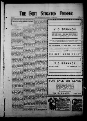 The Fort Stockton Pioneer. (Fort Stockton, Tex.), Vol. 1, No. 19, Ed. 1 Thursday, August 6, 1908