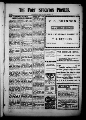The Fort Stockton Pioneer. (Fort Stockton, Tex.), Vol. 1, No. [52], Ed. 1 Thursday, March 25, 1909