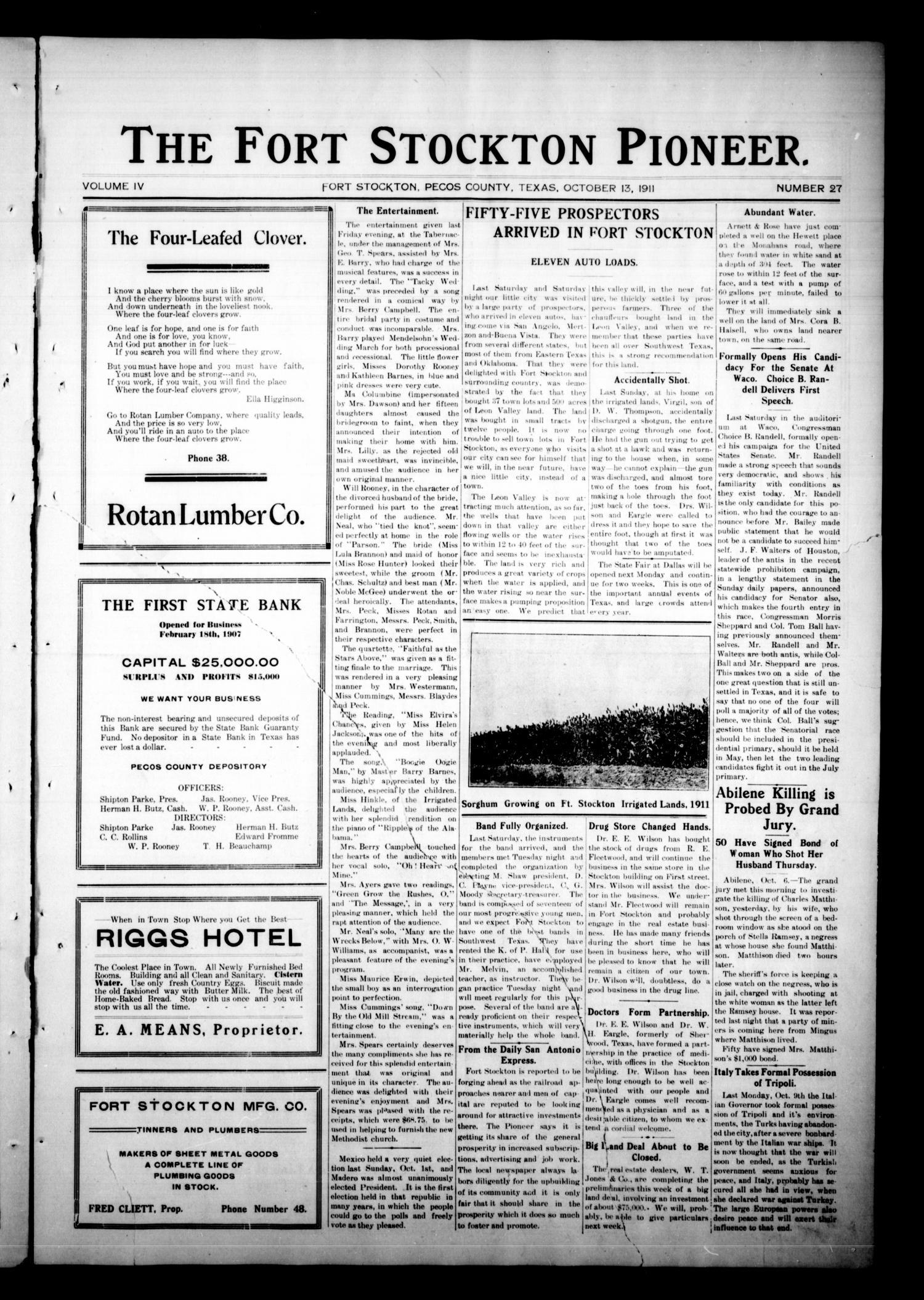 The Fort Stockton Pioneer Fort Stockton Tex Vol 4 No 27 Ed