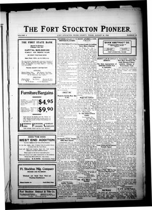 Primary view of object titled 'The Fort Stockton Pioneer. (Fort Stockton, Tex.), Vol. 5, No. 19, Ed. 1 Friday, August 16, 1912'.