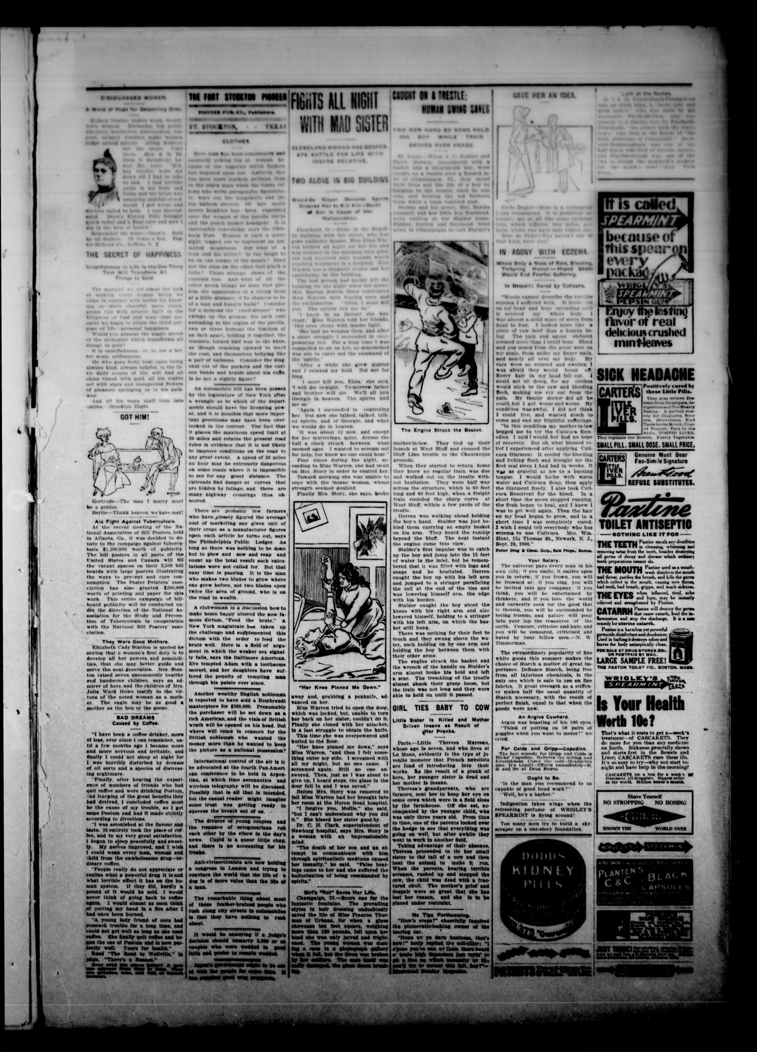 The Fort Stockton Pioneer. (Fort Stockton, Tex.), Vol. 2, No. 21, Ed. 1 Thursday, August 19, 1909                                                                                                      [Sequence #]: 3 of 6