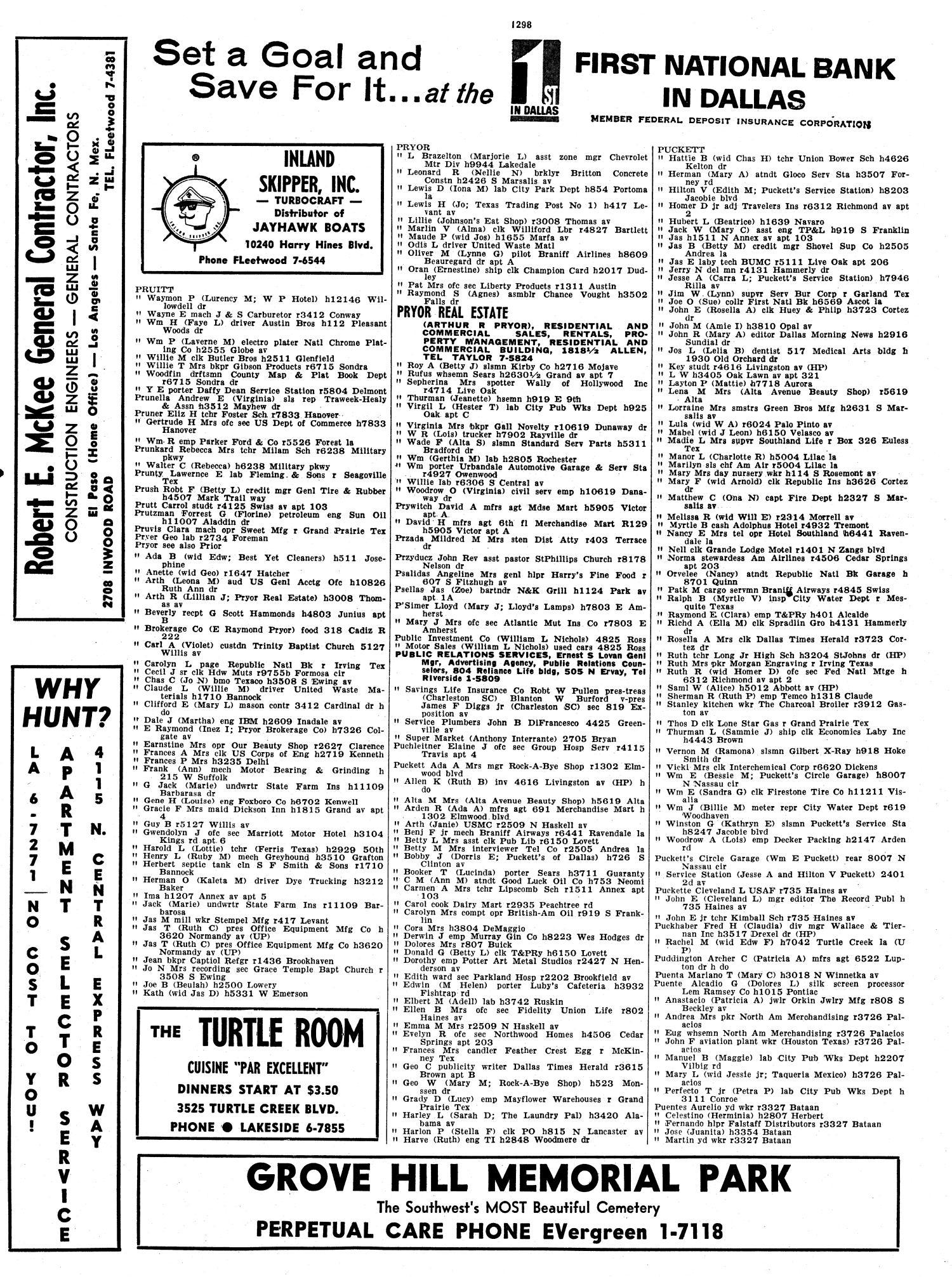 Dallas City Directory, 1961 - Page 1,298 - The Portal to