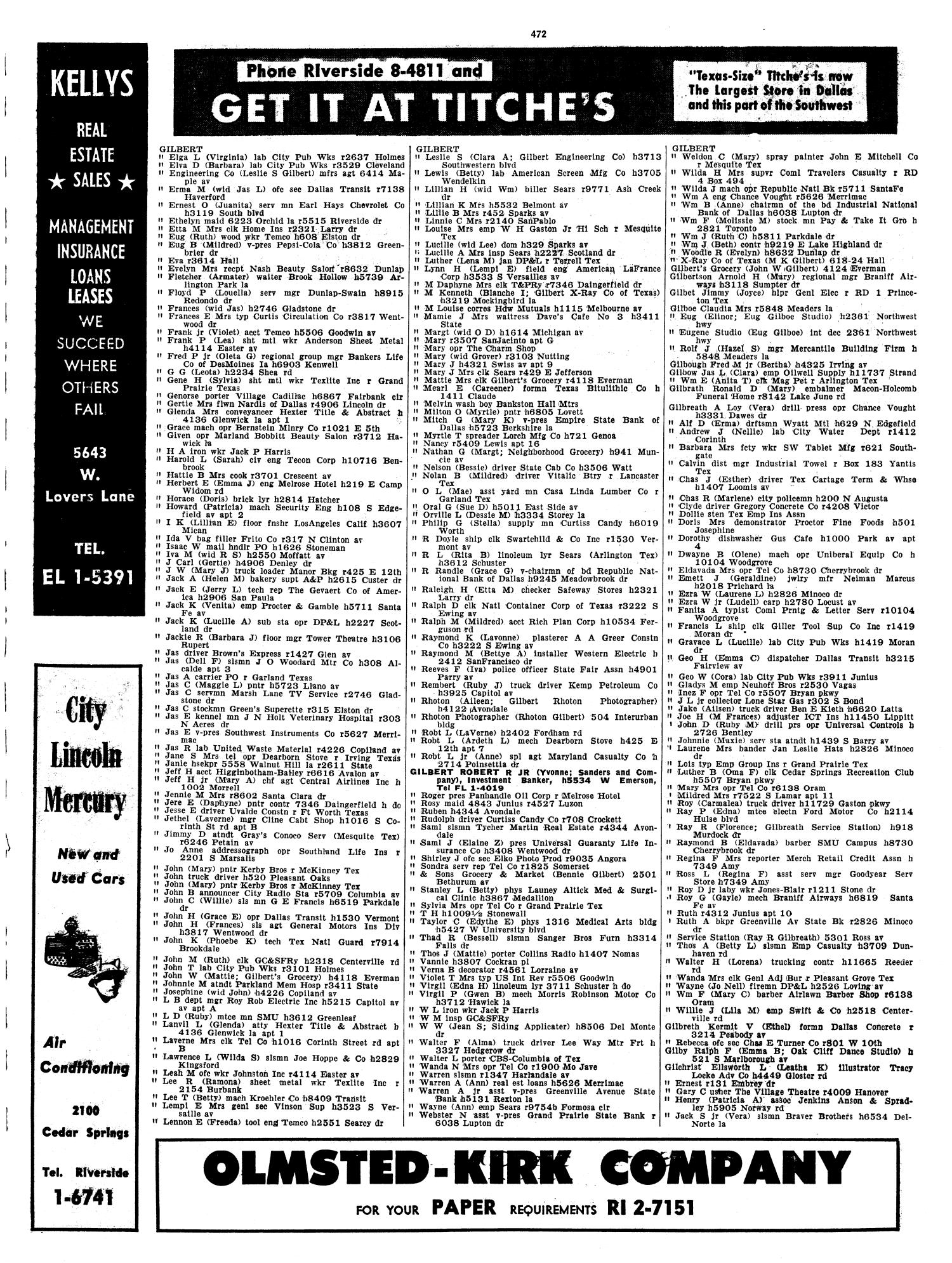 Dallas City Directory, 1957 - Page 472 - The Portal to Texas History