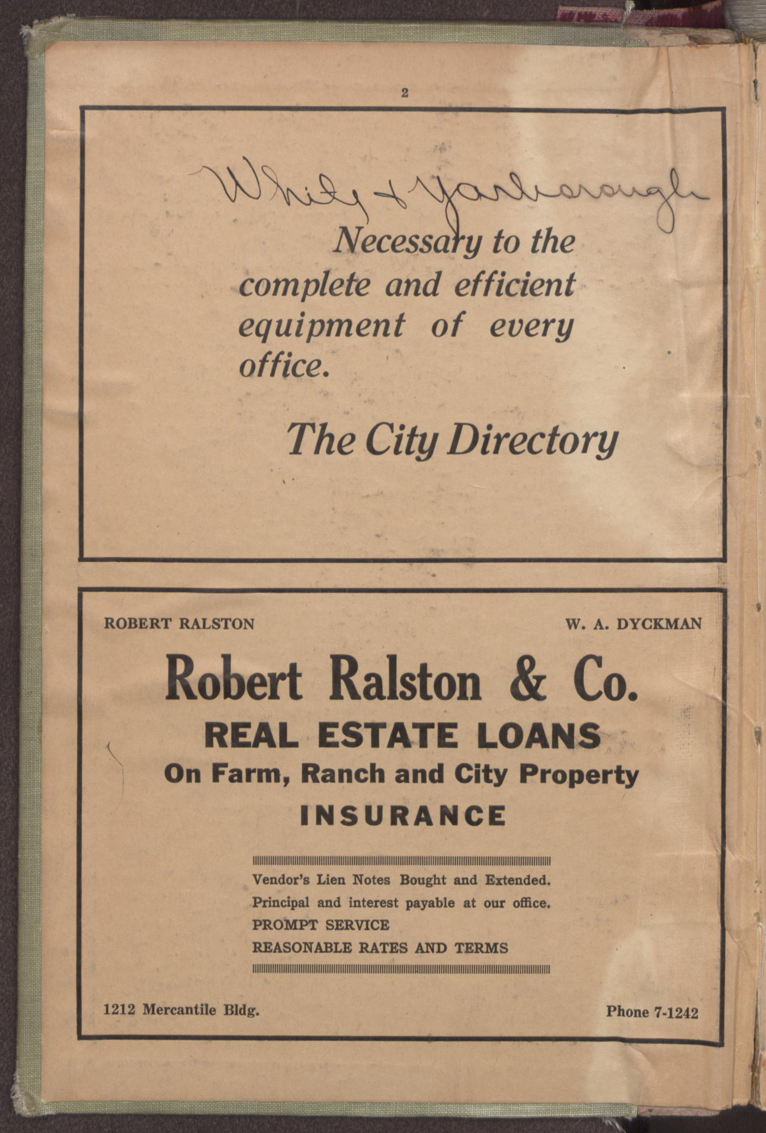 Dallas City Directory, 1934-35                                                                                                      FRONT INSIDE COVER
