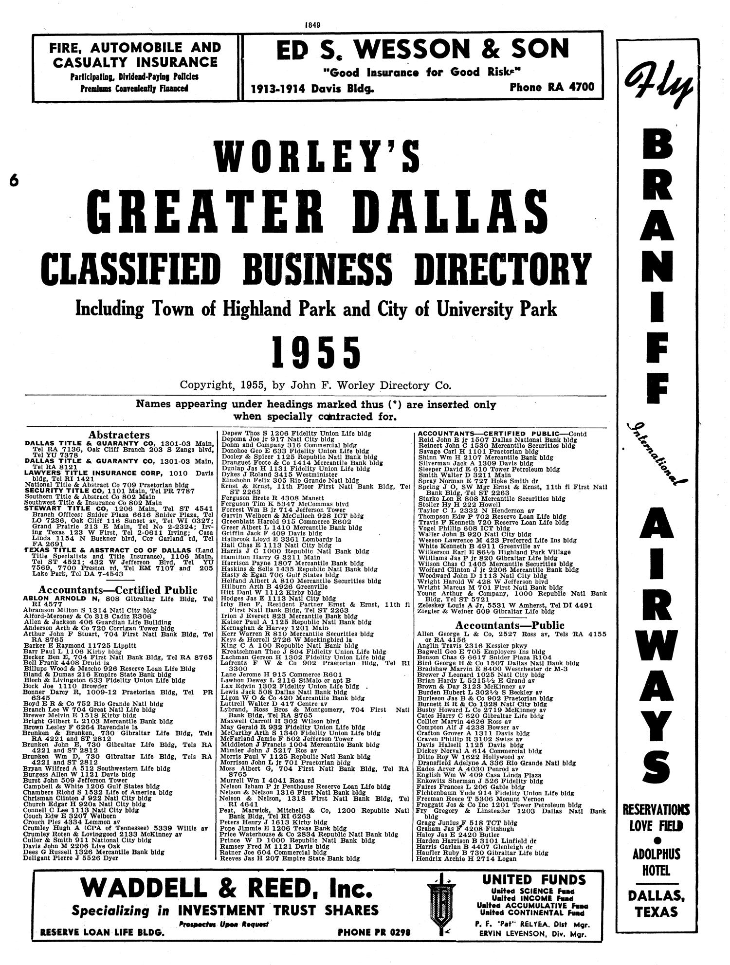 Dallas City Directory, 1955 - Page 1,849 - The Portal to Texas History
