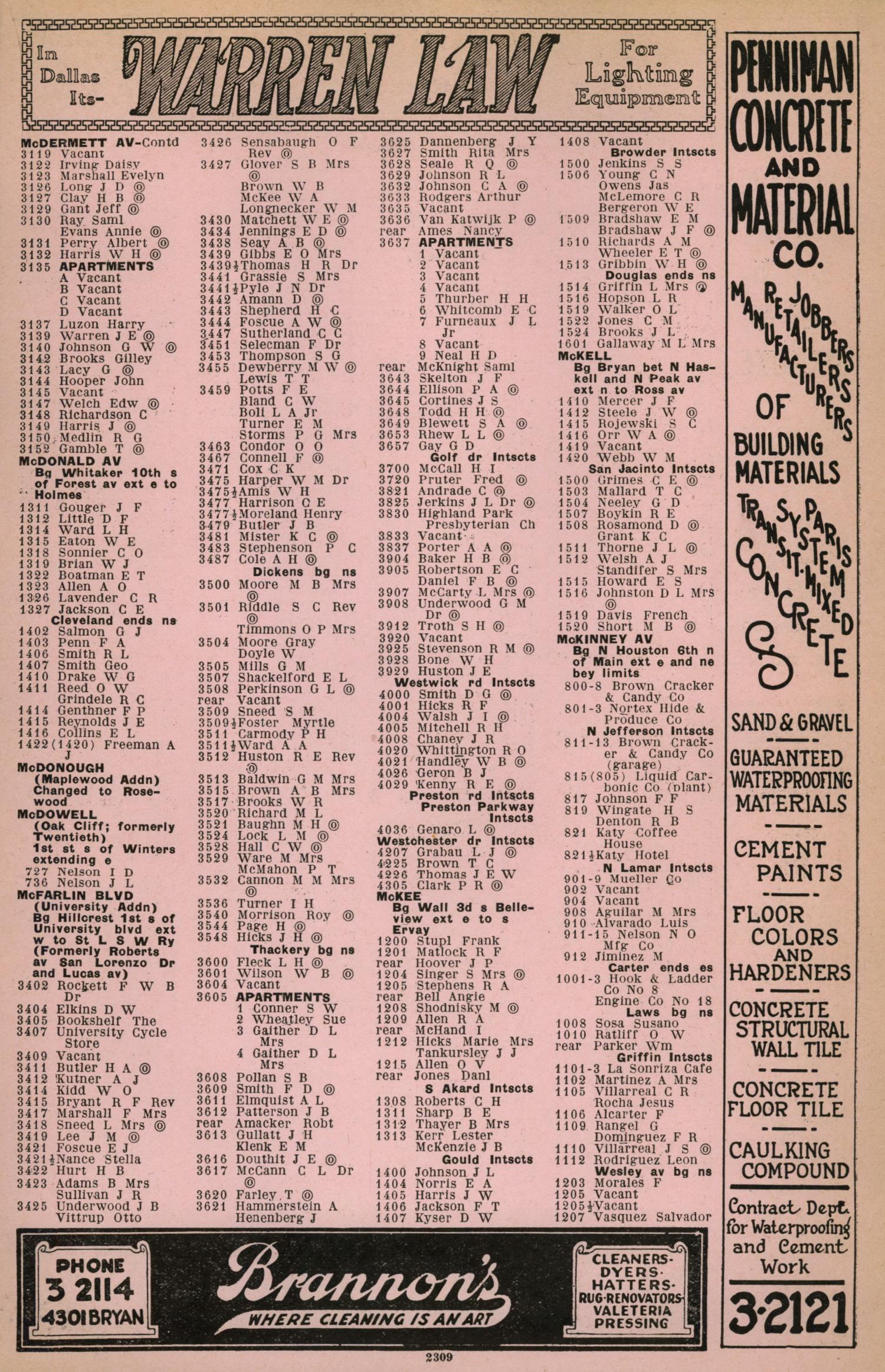 Dallas City Directory, 1930 - Page 2,309 - The Portal to Texas History