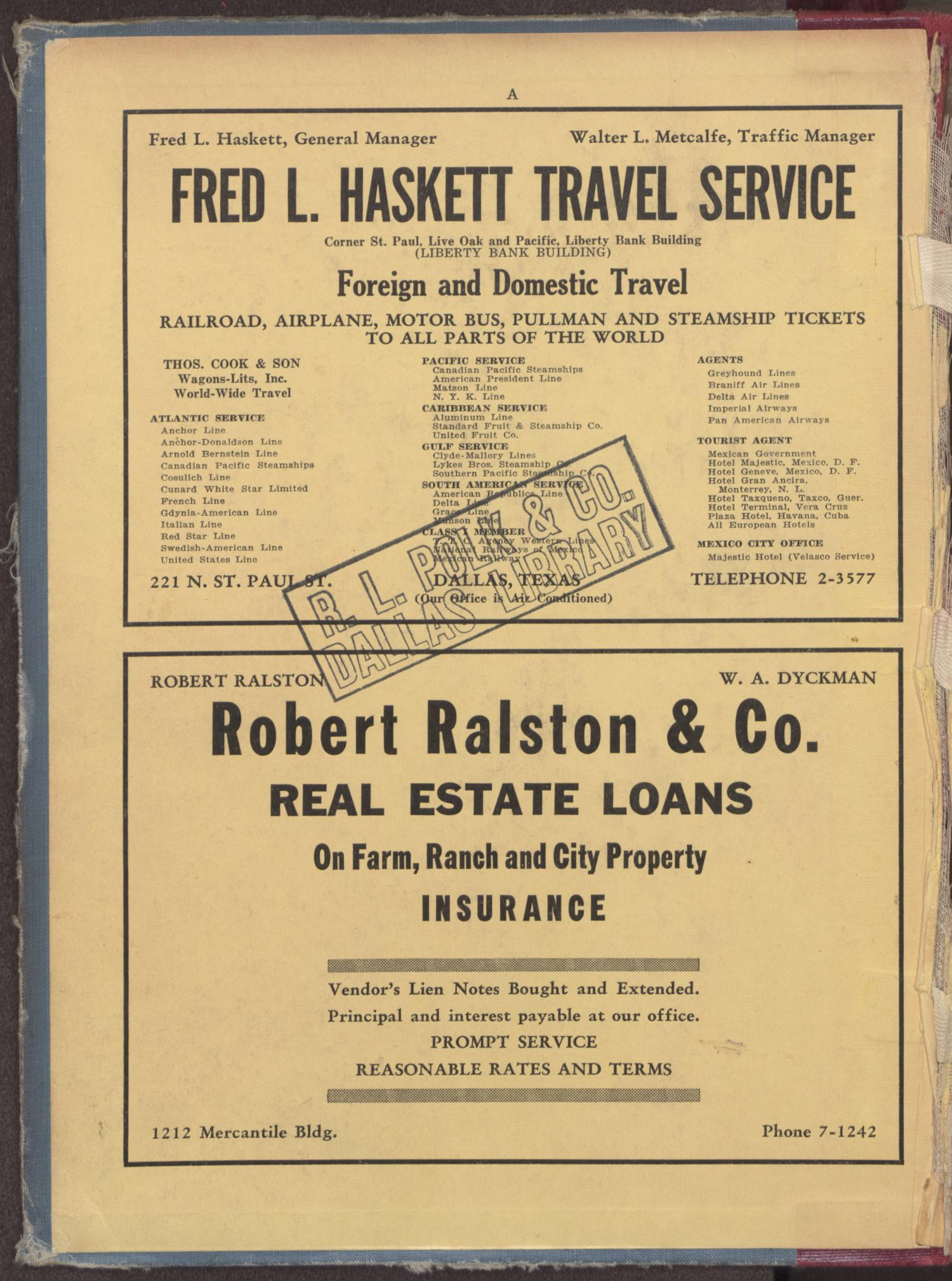 Dallas City Directory, 1939                                                                                                      FRONT INSIDE COVER