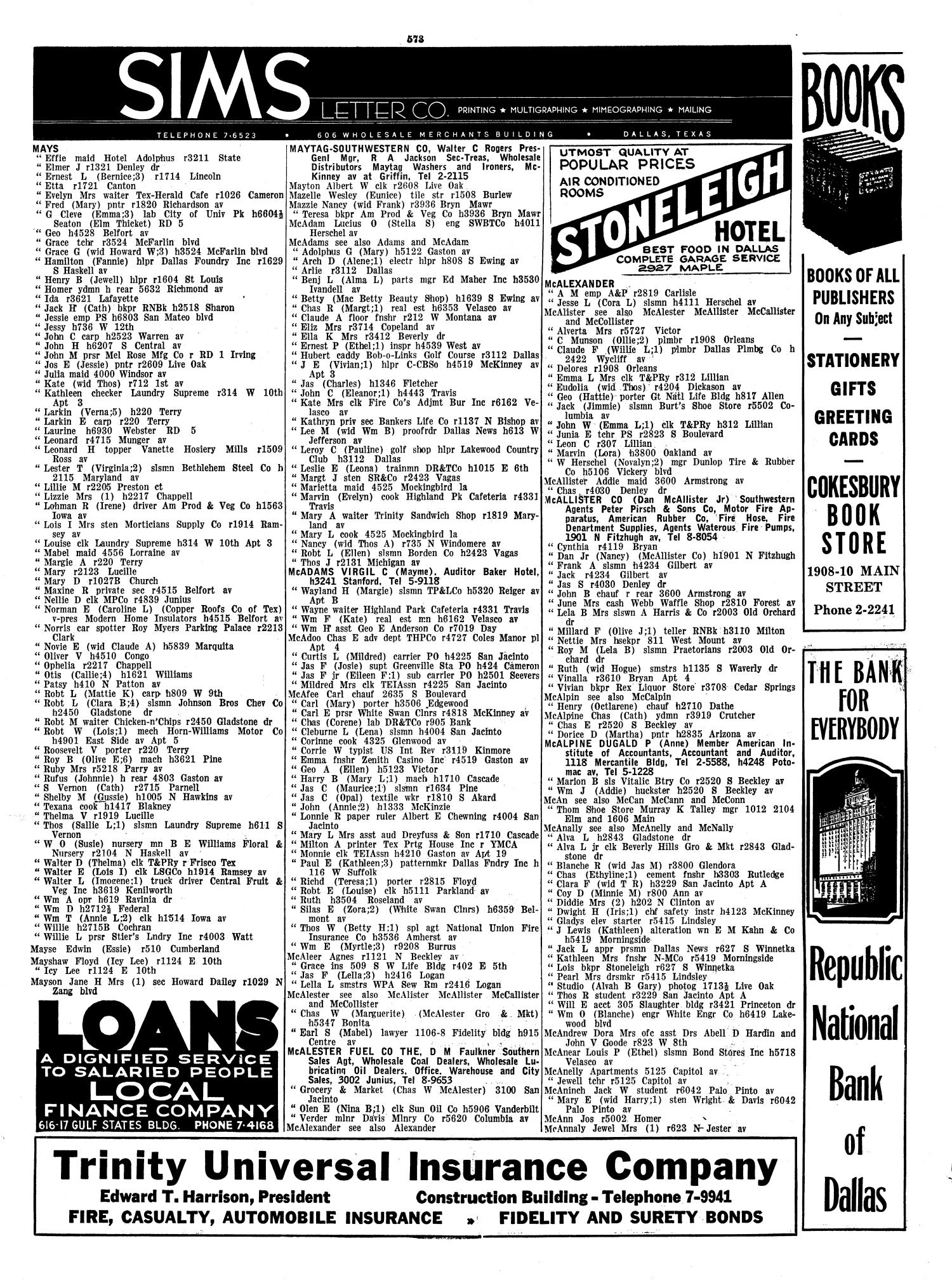 Dallas City Directory 1939 Page 573 The Portal To Texas History