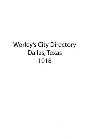 Primary view of object titled 'Dallas City Directory, 1918'.