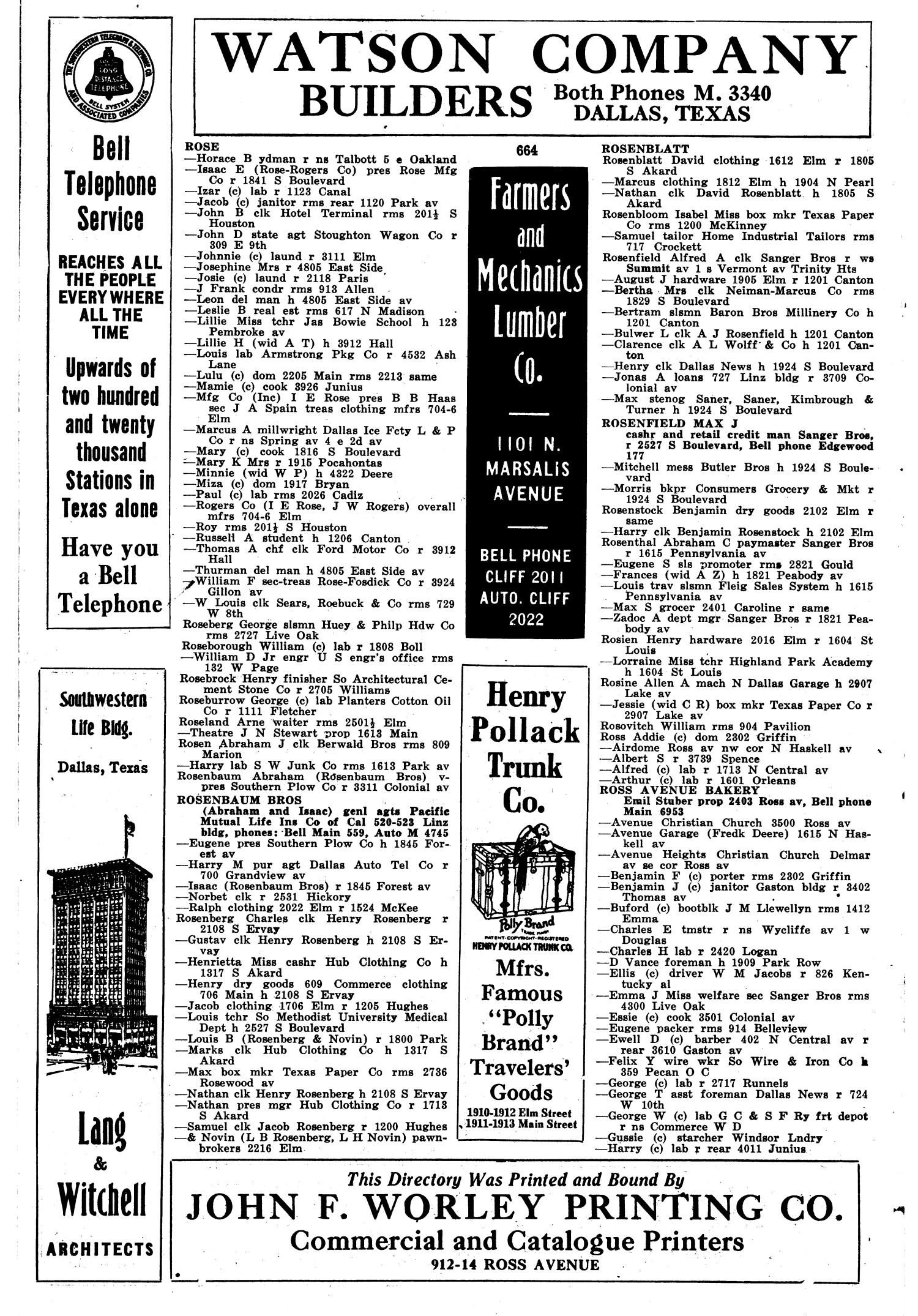 Dallas City Directory, 1915 - Page 664 - The Portal to Texas