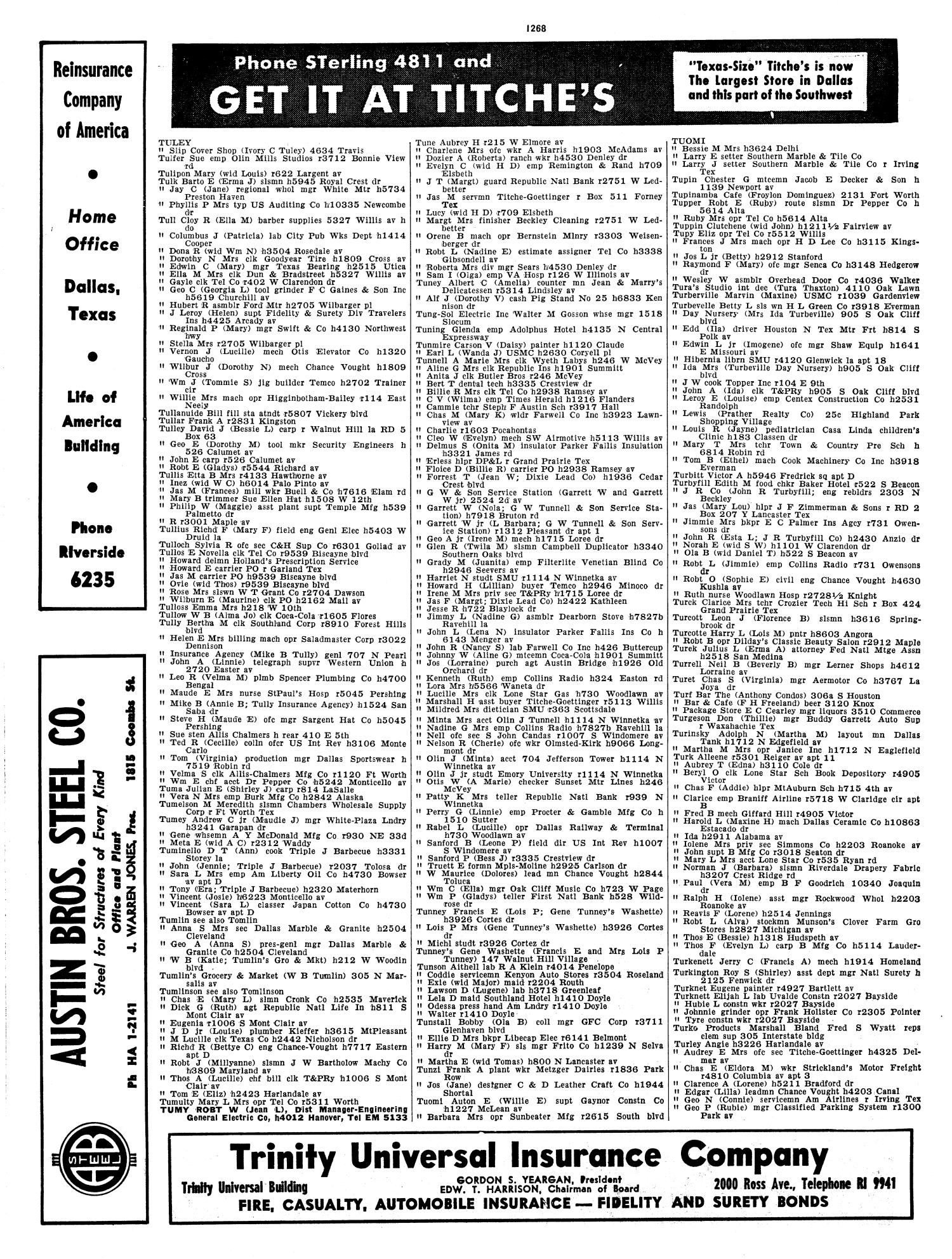 Dallas City Directory, 1956 - Page 1,268 - The Portal to Texas History