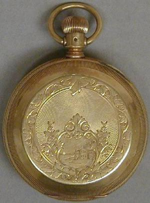 Primary view of object titled '[Gold pocket watch engraved with a scene of a house]'.