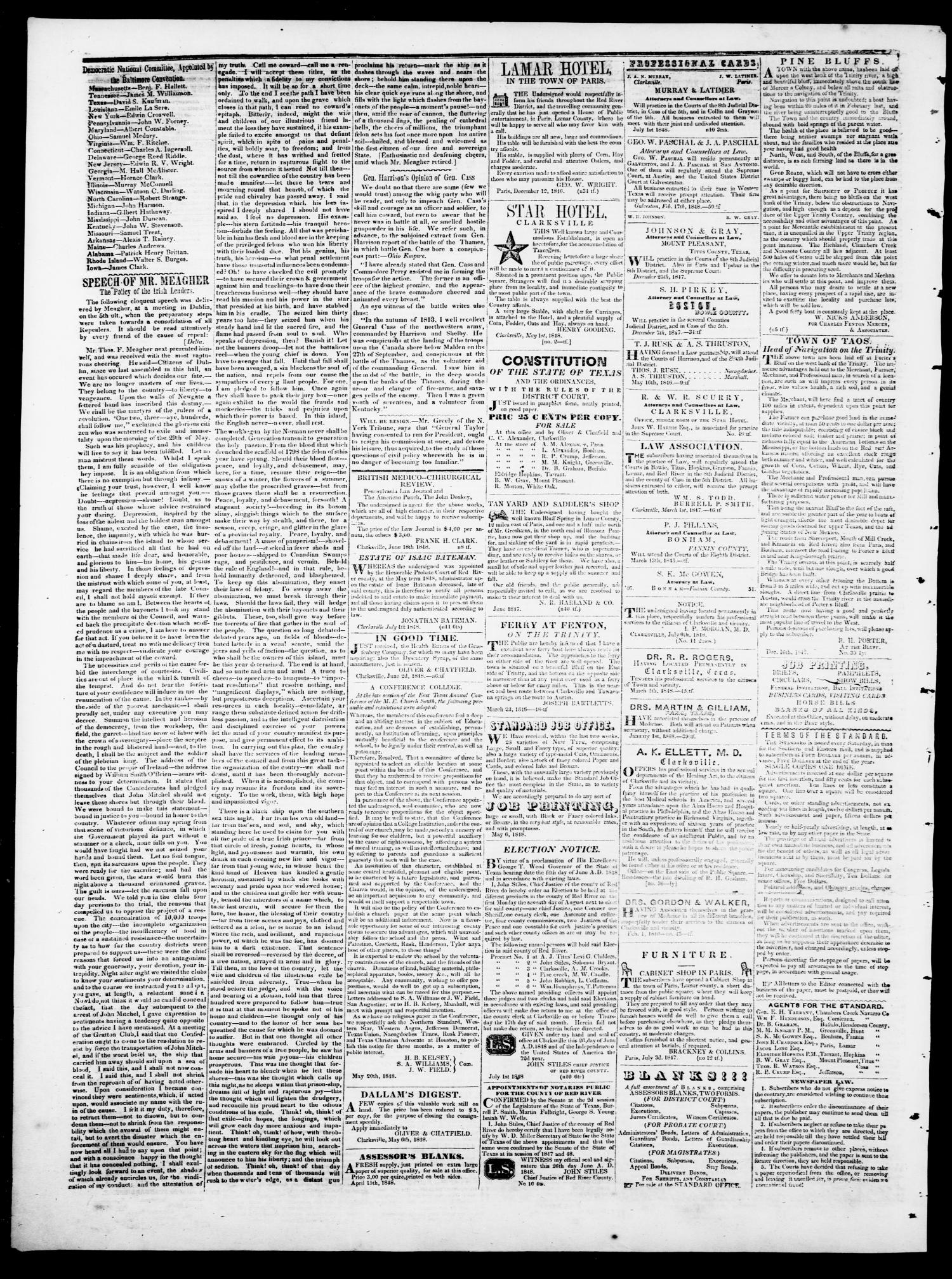 The Northern Standard. (Clarksville, Tex.), Vol. 6, No. 19, Ed. 1, Saturday, September 2, 1848                                                                                                      [Sequence #]: 4 of 4