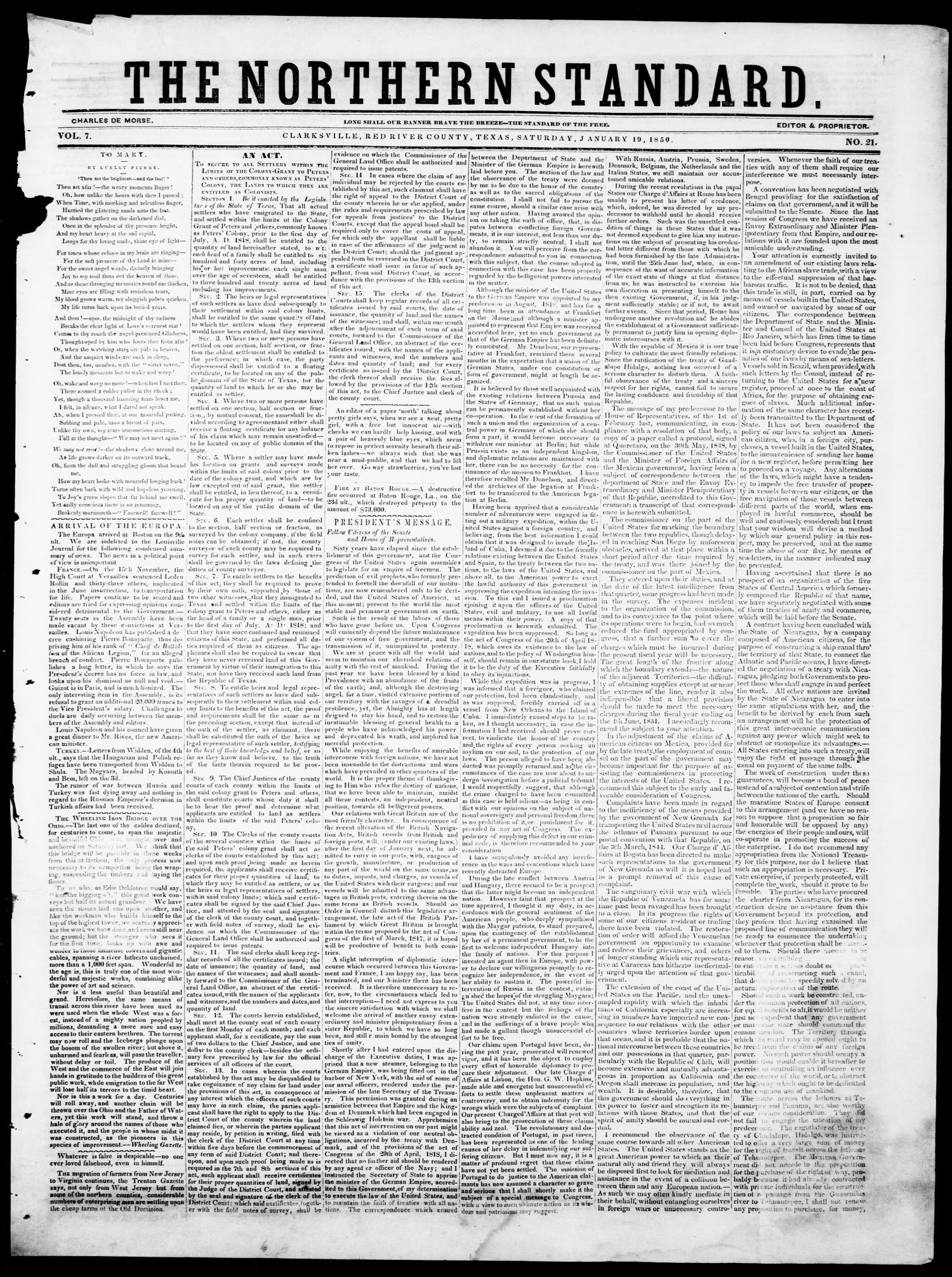 The Northern Standard. (Clarksville, Tex.), Vol. 7, No. 21, Ed. 1, Saturday, January 19, 1850                                                                                                      [Sequence #]: 1 of 4