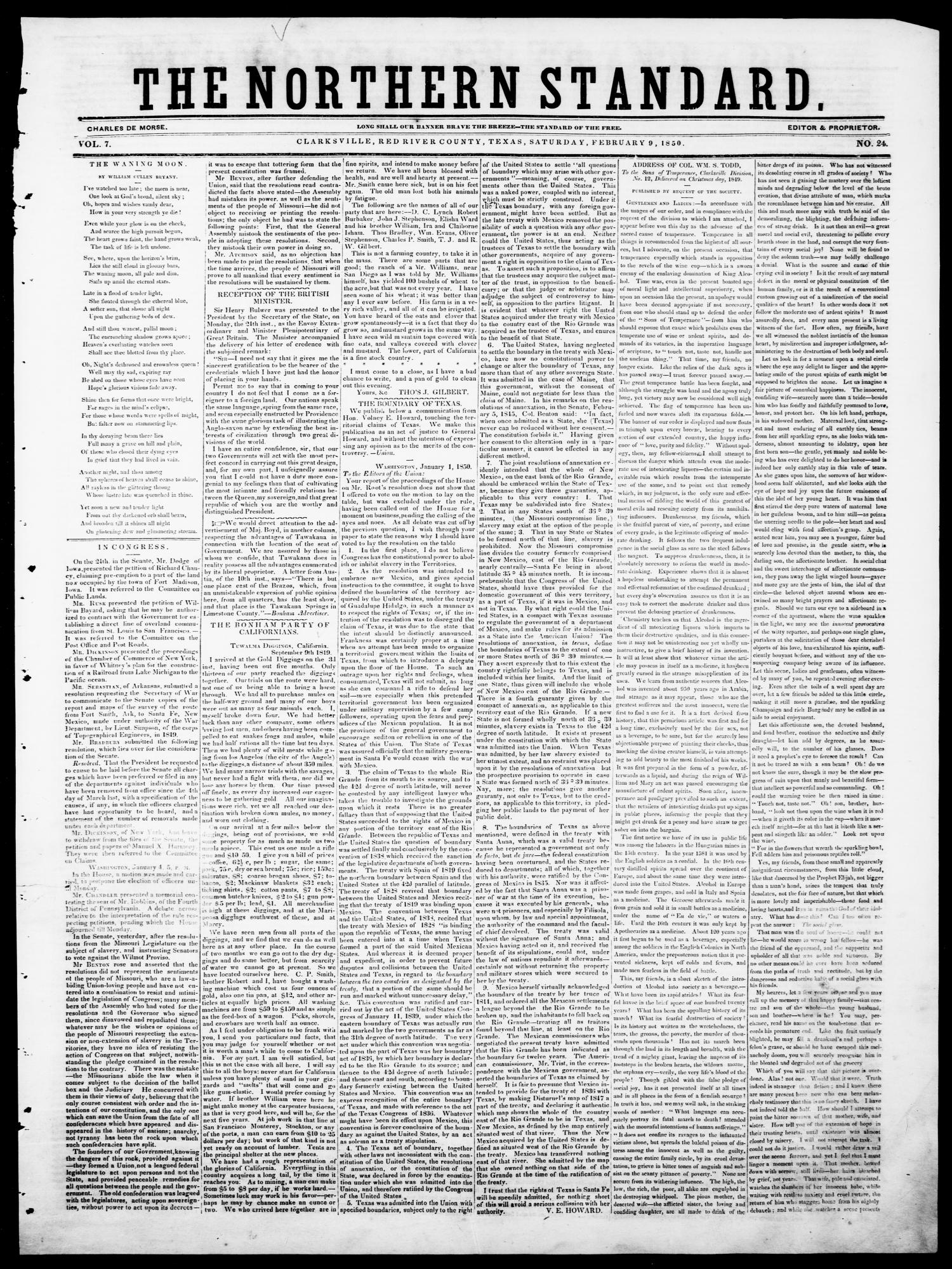 The Northern Standard. (Clarksville, Tex.), Vol. 7, No. 24, Ed. 1, Saturday, February 9, 1850                                                                                                      [Sequence #]: 1 of 4
