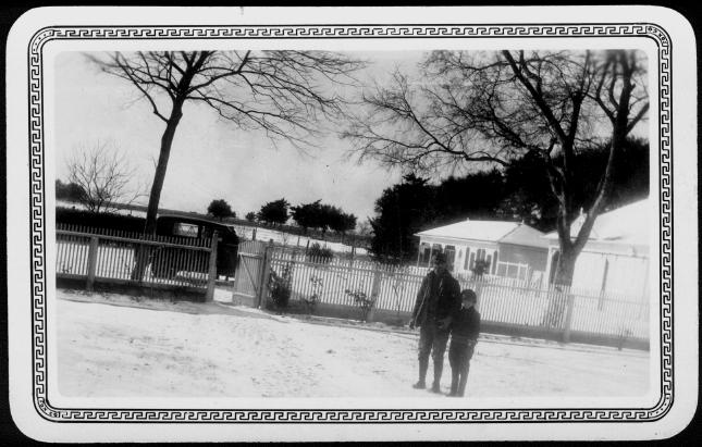 [Albert Peyton George and Mary Jones in the snow covered ranch yard]                                                                                                      [Sequence #]: 1 of 1