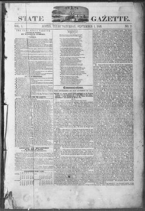 Primary view of object titled 'Texas State Gazette. (Austin, Tex.), Vol. 1, No. 2, Ed. 1, Saturday, September 1, 1849'.