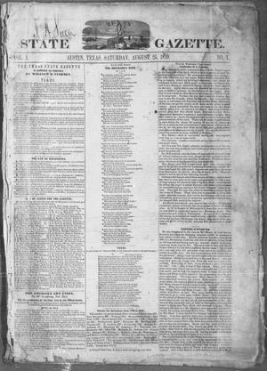 Primary view of object titled 'Texas State Gazette. (Austin, Tex.), Vol. 1, No. 1, Ed. 1, Saturday, August 25, 1849'.