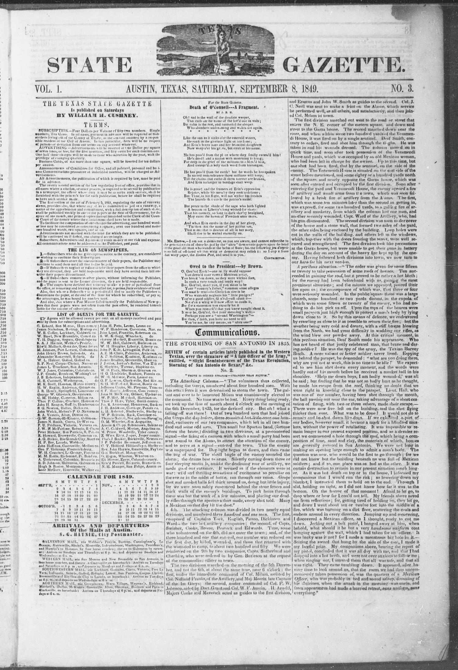 Texas State Gazette. (Austin, Tex.), Vol. 1, No. 3, Ed. 1, Saturday, September 8, 1849                                                                                                      [Sequence #]: 1 of 8