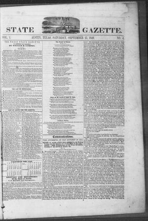 Primary view of object titled 'Texas State Gazette. (Austin, Tex.), Vol. 1, No. 4, Ed. 1, Saturday, September 15, 1849'.