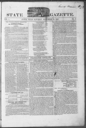 Primary view of object titled 'Texas State Gazette. (Austin, Tex.), Vol. 1, No. 6, Ed. 1, Saturday, September 29, 1849'.