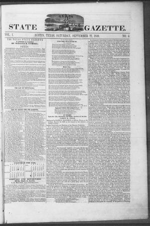 Primary view of object titled 'Texas State Gazette. (Austin, Tex.), Vol. 1, No. 5, Ed. 1, Saturday, September 22, 1849'.