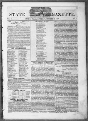 Texas State Gazette. (Austin, Tex.), Vol. 1, No. 7, Ed. 1, Saturday, October 6, 1849