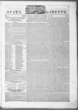 Primary view of object titled 'Texas State Gazette. (Austin, Tex.), Vol. 1, No. 8, Ed. 1, Saturday, October 13, 1849'.