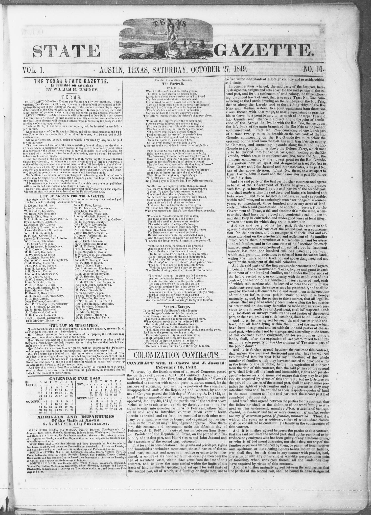 Texas State Gazette. (Austin, Tex.), Vol. 1, No. 10, Ed. 1, Saturday, October 27, 1849                                                                                                      [Sequence #]: 1 of 8