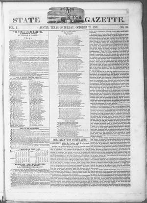Primary view of object titled 'Texas State Gazette. (Austin, Tex.), Vol. 1, No. 10, Ed. 1, Saturday, October 27, 1849'.